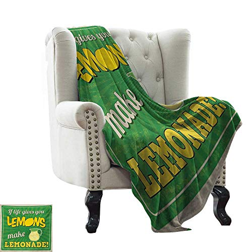 weighted blanket for kids Quote,Vintage Pop Art Advertising Design If Life Gives You Lemon Make Lemonade,Green Yellow and Tan Sofa Super Soft, Plush, Fuzzy Microfiber Throw Reversible,Comfy 60