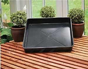 TrapMan - bandeja grande cuadrada de plástico negro reciclado, parrilla de horno,