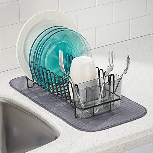 mDesign Compact Kitchen Dish Drainer Rack for Drying Glasses, Silverware, Bowls, Plates - Matte Black/Smoke