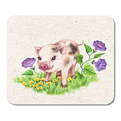 "Semtomn Gaming Mouse Pad Cute Miniature Pig Walking on Green Grass Near Wildflowers Vintage 9.5""x 7.9"" Decor Office Nonslip Rubber Backing Mousepad Mouse Mat"