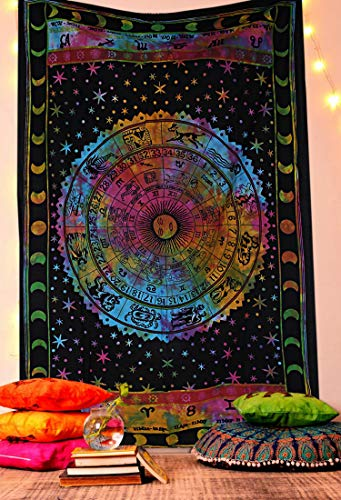 THE ART BOX Tapestry Hippie Star Wall Tapestry Sun and Moon Tapestries Wall Hanging Twin Size Tapestries Cotton Wall Blanket Hippie Indian Home Décor Boho Tapestry (Astrology Multi, Twin)