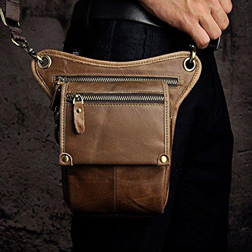 7adfd8002d Le aokuu Mens Genuine Leather Messenger Hiking Waist Hip Bum Pack Drop Leg  Bag low