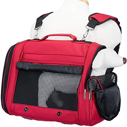 Prefer Pets Travel Gear 358BUR Hideaway Duffle Pet Carrier, Medium, Burgundy