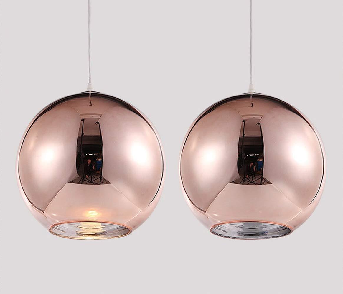 Pendelleuchte Hängelampe Runde Modern Design Eisen Eisen Eisen Lampenschirm Hänge Leuchter für Schlafzimmer Nachttisch Bar Kücheninsel Esszimmer Treppe Loft Hängeleuchte Kronleuchter (RoséGold (Kupfer), 30CM) 586c3b