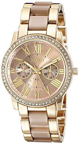 XOXO Women's Analog Watch with Gold-Tone Case, Crystal-Inset Bezel, Fold-Over Clasp - Official XOXO Woman's Gold and Rose Gold Watch, Two-Tone Chain Link Strap - Model: ()