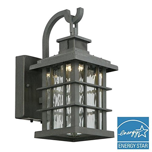 Home Decorators Collection Summit Ridge Collection Zinc Motion Sensor Outdoor Integrated LED Small Wall Mount Lantern