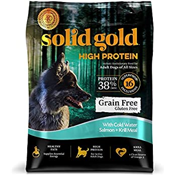 Solid Gold High Protein Grain and Gluten Free Dry Dog Food, Cold Water Salmon and Krill Meal Recipe, Active Adult Dogs, All Sizes, 22lb Bag