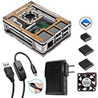 Smraza Raspberry Pi 3 B+ Wood Case with Fan + Heatsinks + 2.5A Power Supply + Micro USB Cord w/On Off Switch for Pi 3B Plus, 3 Model B, 2B