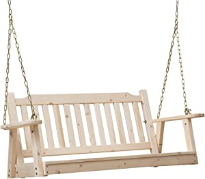 Anjor Rustic Front Porch Swing Seat with Hanging Chains Wood Outdoor 4 Ft, Unfinished