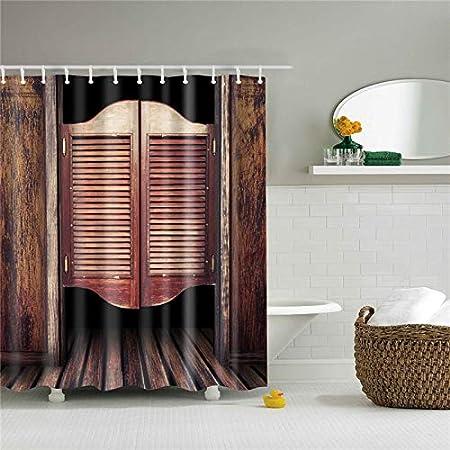 JHTRSJYTJ Tela de poliéster Mampara de baño Cortinas de Ducha Cortina de baño Cortina Impermeable para la decoración casera Puerta de Madera Impresa 3D: Amazon.es: Hogar