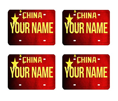 BRGiftShop Customize Your Own License China Flag Country Plate Set of 4 Square Beverage Coasters ()