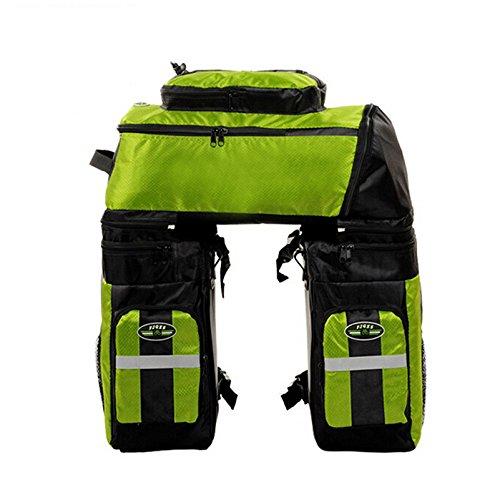 65L Waterproof Cycling Bag Bicycle Rack Bag Long Journey Luggage Mountain Bike Pannier Cycling Bags +Rain Cover (Green) by WenZi