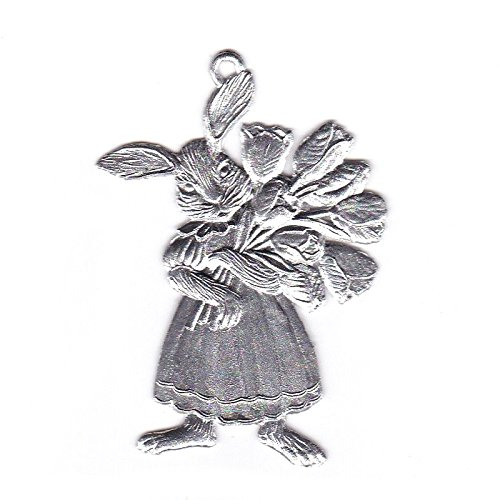 (Wilhelm Schweizer Easter Decoration Pendant of Pewter, Bunny Girl with Tulip Bouquet, Bright tin)