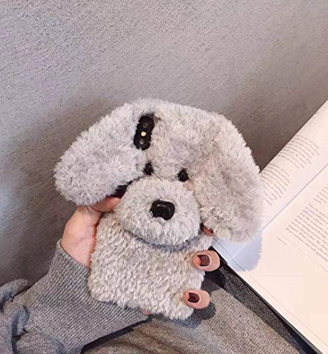 Losin Dog Case Compatible with Apple iPhone XR Case Fashion Luxury Cute Fuzzy Furry Wool Plush Fluffy 3D Cute Dog Face Toy Doll Soft TPU Back case