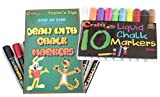 dry erase how to draw - LIQUID CHALK MARKERS PACK - 10 6mm - Each Premium Quality Pen With Unique Reversible Fine Tip / Broad Tip & How To Draw Book