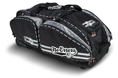 NO ERRORS NO E2 Catchers Bag with FatBoy Wheels - Wheeled Baseball Equipment Gear & Helmet Bags (Black)