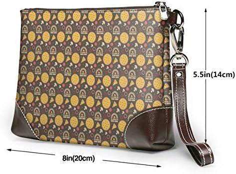 GLGFashion Cartoon Cookies Women's Leather Wristlet Clutch Purses Portable Makeup Cosmetic Bag Handbag Organizer Wallet With Zipper For Women Girls