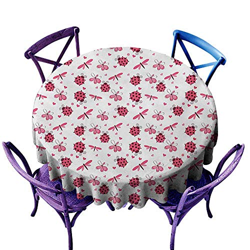 Tablecloth for Kids/Childrens,Ladybugs Domed Back Round Ladybugs with Hearts Flowers Dragonflies Romantic Wings Pattern,Stain Resistant, Washable,50 INCH,Red White ()