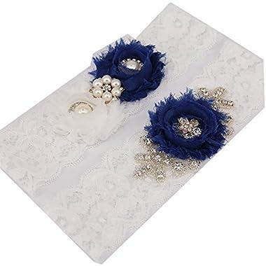 TRLYC 2 *22  Beaded Lace Garters Wedding Rhinestone Crystal Bridal Garters