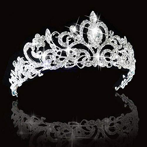 SNOWH Crystal Crowns and Tiaras Princess Wedding Crown Rhinestone Birthday Tiara Pageant Headband Bridal Hair Headpieces for Women and Girls Silver]()