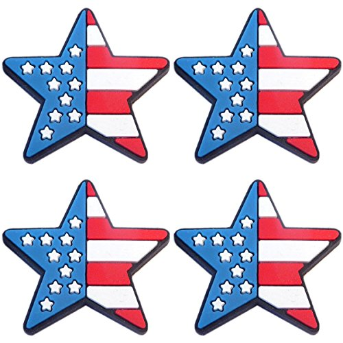 (Four (4) of Patriotic Star US Flag Rubber Charms for Wristbands and)