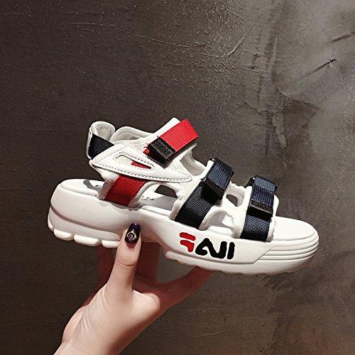 aire rápido velcro de punta deportes ligero secado libre de verano espesor de nueva mujer zapatos estudiante grueso de zapatos mujer de playa al SOHOEOS abierta sandalias romana de blanco q7OBpB