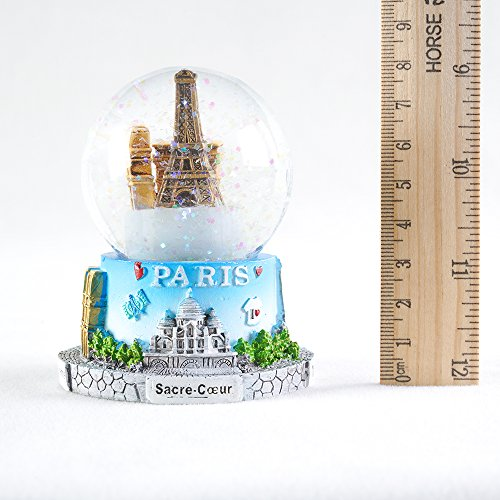 WOBAOS Snow Globe crafts- Sculptured Resin Water Ball - Christmas Valentine's day birthday holiday new year's gift (Diameter 60mm-80mm) (Diameter 65mm, PARIS)
