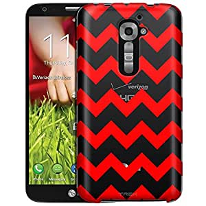 LG Verizon G2 Case, Slim Fit Snap On Cover by Trek Chevron Red Clear Case