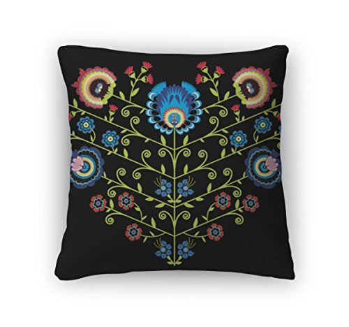 Gear New Polish Folk Floral Pattern in Heart Shape on Black Zippered Square Pillow