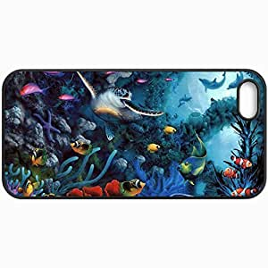 Customized Cellphone Case Back Cover For iPhone 5 5S, Protective Hardshell Case Personalized David Miller Turtle Fish Dolphins Seabed Art Black