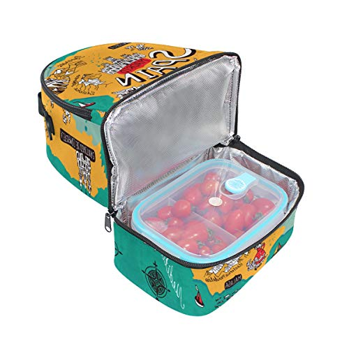 Box Adult Lunch Bag Insulated Food Storage Containers Map Of Spain Double Deck For Kids ()