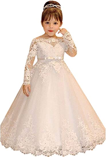 Kid/'s Flower Girl Lace Long Sleeve Princes Dress Wedding Pageant Bridesmaid Gown