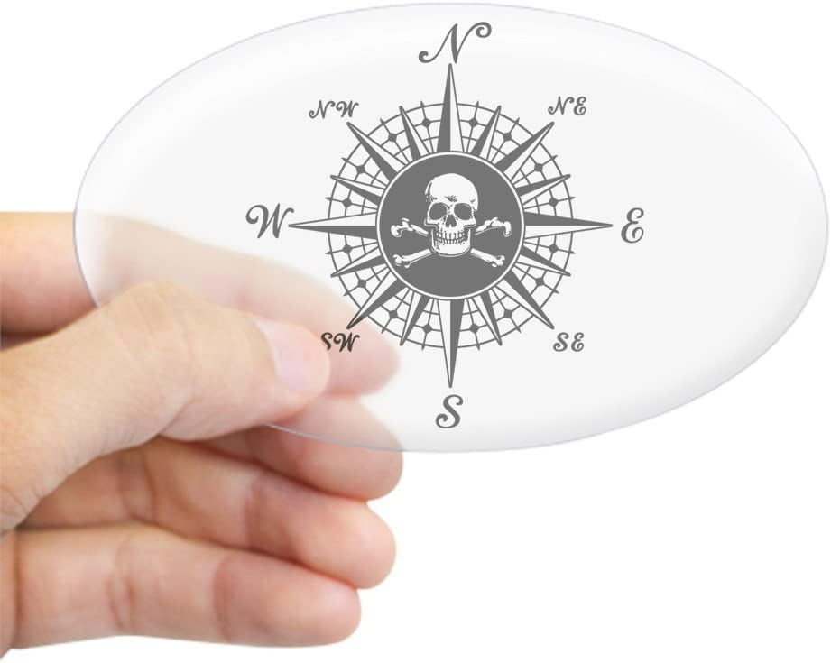 3x5 CafePress Kompass Rose II oval Aufkleber Aufkleber oval farblos