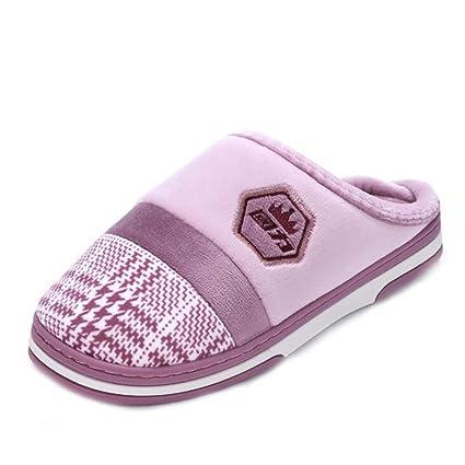 SHANGXIAN Mujer Interior Pantufla Calentar Algodón Pantuflas Invierno Suave Acogedor Antideslizante Felpa Zapatos,Purple,