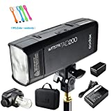 Godox AD200 200Ws 2.4G TTL Speedlite Flash Strobe 1/8000 HSS Monolight with 2900mAh Lithium Battery and Bare Bulb Flash Head to Provide 500 Full Power Flashes Recycle in 0.01-2.1 Second