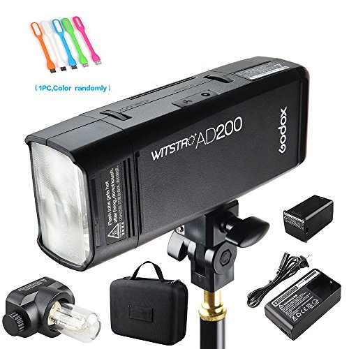 Flash Heads Studio (Godox AD200 200Ws 2.4G TTL Speedlite Flash Strobe 1/8000 HSS Monolight with 2900mAh Lithium Battery and Bare Bulb Flash Head to Provide 500 Full Power Flashes Recycle in 0.01-2.1 Second)