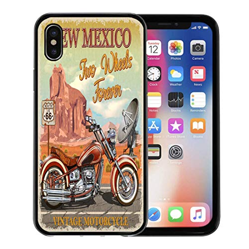 Emvency Phone Case for Apple iPhone Xs Case/iPhone X Case,Antique Road Vintage Route 66 New Mexico Motorcycle America Soft Rubber Border Decorative, Black - 66 Route Highway Americas Motorcycle
