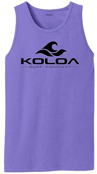 1e850405f6680 Amazon.com  Koloa Classic Wave Logo Pigment-Dyed Tank Tops in Sizes ...