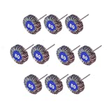 30mm Metal Shank Abrasive Mounted Flap Wheels 80 Grit For Dremel Rotary Tools 10 Pieces