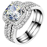 White Gold Plated Perfect 1CT Cushion Engagement Ring Wedding Bands NSCD Simulated Diamond Rings Set