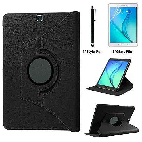 Case for Samsung Galaxy Tab S2 9.7 inch (SM-T810 SM-T813 SM-T815), 360 Degree Rotating Folio Stand Case Smart Protective Cover, Bonus Stylus Pen,Screen Film (Black)