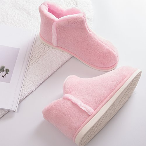 mianshe Heat Warm Ladies Coral Velvet Boot Indoor Slippers Fluffy Plush Men's House Slippers (Hi-Top)pink uhcWUV