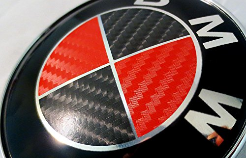 BLACK and RED Carbon Fiber Sticker Overlay Vinyl for All BMW Emblems Caps Logos Roundels ()