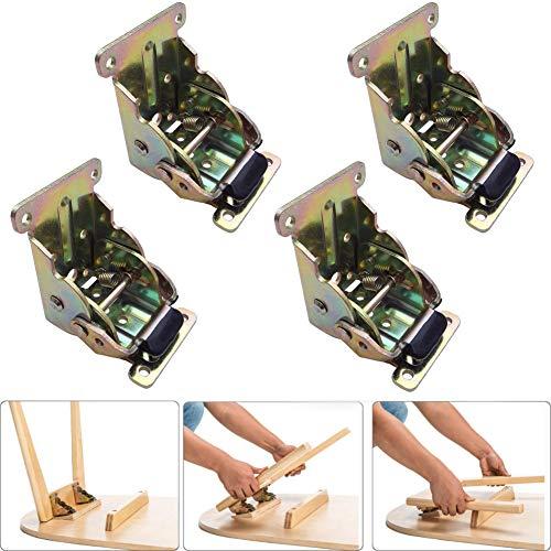 - VintageBee 4 Pack Lock Extension Table Bed Leg Feet Steel Folding Foldable Support Bracket Screw (Galvanized)