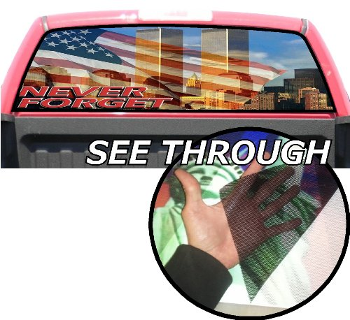 P130 Twin Towers 9/11 Tint Rear Window Decal Wrap Graphic Perforated See Through Universal Size 65