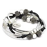 London Silverplated 2 Strand Natural Black Leather Wrap Bracelet (Small (5 7/8'' - 6 1/8''))