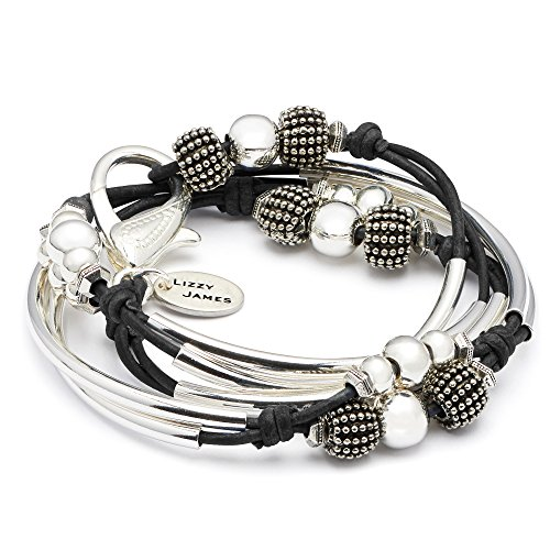 London Silverplated 2 Strand Natural Black Leather Wrap Bracelet (Small (5 7/8'' - 6 1/8'')) by Lizzy James