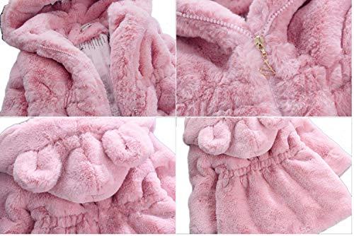 JIANLANPTT Tolddler Girls Winter Warm Faux Fur Fleece Coat Kids Cartoon Hooded Coat Thick Jackets Outerwear Pink 2-3Years by JIANLANPTT (Image #1)
