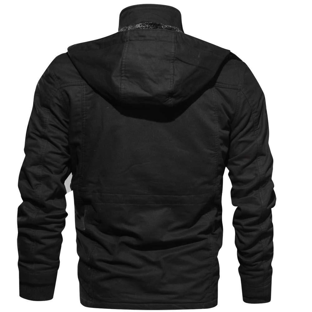 Ehomate Manteau d'hiver en Coton épais pour Homme avec Capuche Amovible Noir