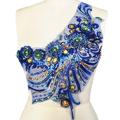 (3D Lace Applique Beaded Embroidered Floral Rhinestones Trim Patches Great for Bodice Wedding Bridal Prom Dress DIY Accessories (Blue))